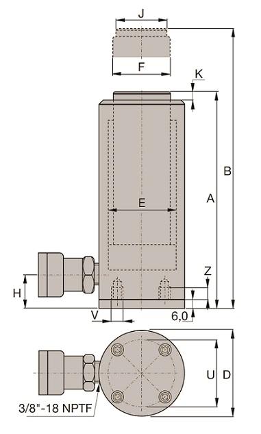 Cilindro de Aço Simples Ação (CS): CS
